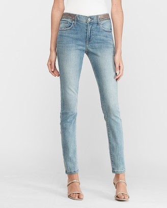 Express Mid Rise Embroidered Waistband Ankle Skinny Jeans