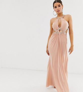 Forever Unique Exclusive embellished maxi dress with draped front in blush