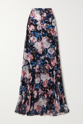 Erdem Giacinta Floral-print Silk-chiffon Maxi Skirt - Black