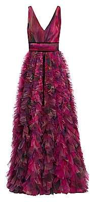 Marchesa Women's V-Neck Printed Textured Tulle Gown