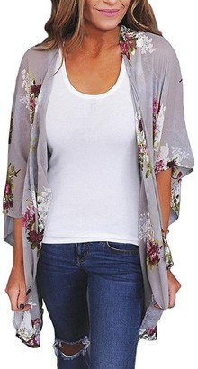 DEELIN Fashion Women Chiffon Loose Shawl Three Quarter Sleeve Print Long Kimono Cardigan Top Cover Up Blouse BeachwearL