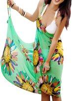 Pinkyee Floral Print Beach Cover Up Sarong Dress