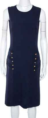 Joseph Navy Blue Crepe Sleeveless Step Button Dress M