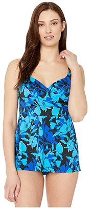 Miraclesuit Petal Play Surplice Tankini Top (Blue) Women's Swimwear