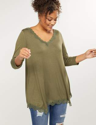 Lane Bryant Sharkbite Hem Lace-Trim Tee