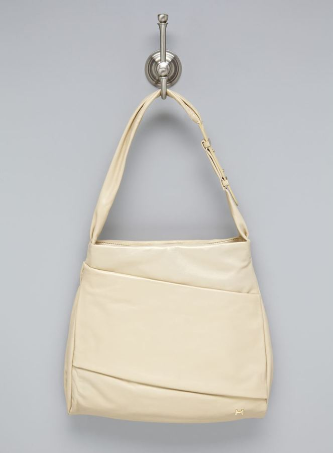 Halston Pale Gold Leather Hobo
