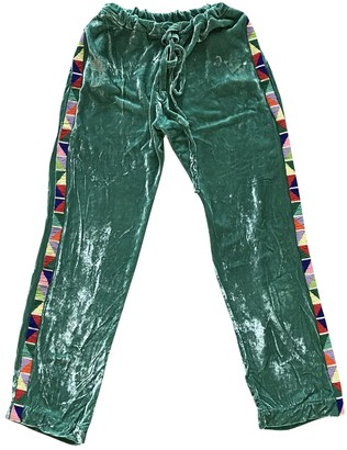 Mira Mikati Green Velvet Trousers for Women