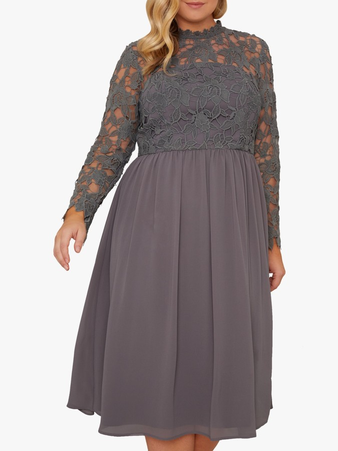 Chi Chi London Curve Zela Lace Midi Dress, Charcoal