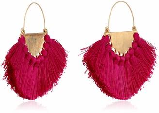 Panacea Women's Magenta Silk Tassel Fan Drop Earrings One Size