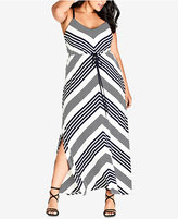 City Chic Trendy Plus Size Striped Drawstring Maxi Dress