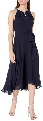 Tahari ASL Sleeveless Chiffon Keyhole Midi (Black) Women's Dress