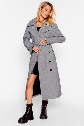 Nasty Gal Womens Moment of Houndstooth Belted Trench Coat - Black - 4