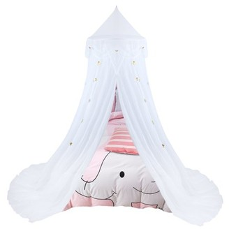 Bed Canopy Tent-Uarter Bed Canopy Yarn Mosquito Net Princess Play Tent Bedding for Bedrooms, Reading Corners, Sofas, Outdoors, with Star-shaped Design, White