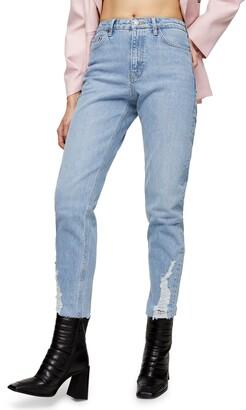 Topshop Dundee Ripped Cuff Straight Leg Jeans