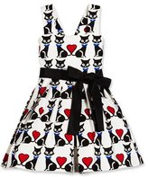 Helena Sleeveless Pleated Fit-and-Flare Kitty Dress, Black/White, Size 4-6