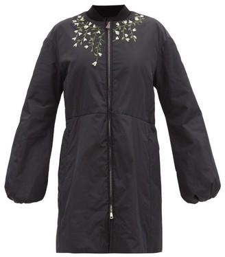 Giambattista Valli Floral-embroidered Padded-shell Coat - Black