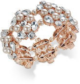 Charter Club Rose Gold-Tone Crystal and Pink Imitation Pearl Stretch Bracelet, Only at Macy's