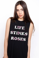 Petals and Peacocks Life Stinks Tank in Black