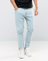 Asos Tapered Jeans In Light Blue