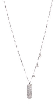 Meira T 14K White Gold Pave Diamond Bar Pendant Necklace