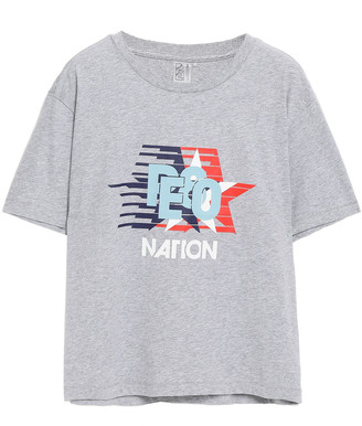 P.E Nation Melange Printed Cotton-jersey T-shirt