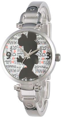 Disney Collection Minnie Mouse Womens Silver Tone Bracelet Watch-W002813