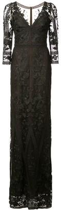 Marchesa long floral lace gown