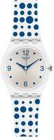 Swatch LK317 Women's Blue Darling Silver Dial Blue Dots Rubber Strap Watch