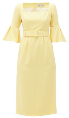 Beulah Camellia Belted Wool-crepe Dress - Light Yellow