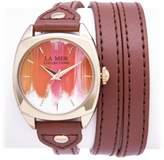 "La Mer Goldtone ""Marble"" Faux Leather Wrap Watch"