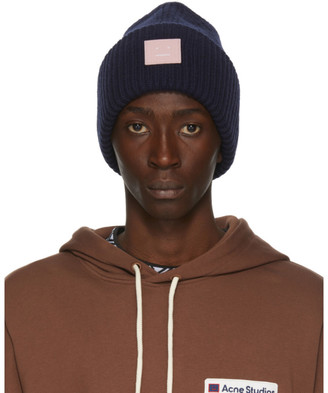 Acne Studios Navy and Pink Rib Knit Patch Beanie
