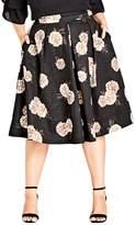 City Chic Rose Print A-Line Skirt