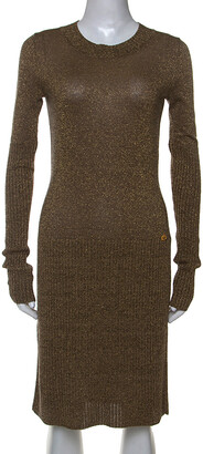 Chanel Metallic Gold Rib Knit Long Sleeve Sweater Dress S