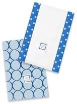 Swaddle Designs Jewel Tone Mod Circles Baby Burpies® in True Blue (Set of 2)