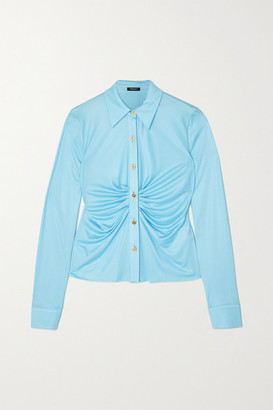 Versace Ruched Satin-jersey Blouse - Blue