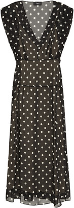 Theory Polka-dot Silk-chiffon Midi Dress