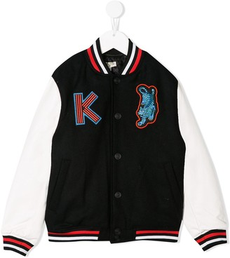 Kenzo Kids Embroidered Patch Bomber Jacket
