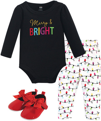 Hudson Baby Girls' Infant Bodysuits Merry - Black 'Merry and Bright' Bodysuit Set - Infant