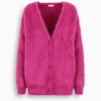 Saint Laurent Fuchsia wool-mohair blend cardigan