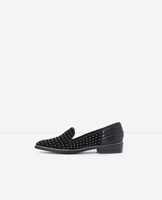 The Kooples Black suede moccasins with silver studs