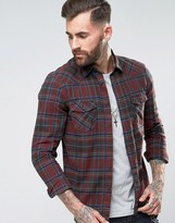 Asos Regular Fit Western Check Shirt In Red