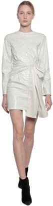 MSGM Croc Embossed Faux Leather Mini Dress