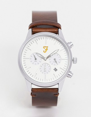 Farah chronograph leather watch