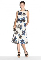 Milly Magnolia Print Cropped Seamed Shell