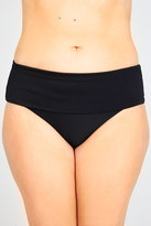 Yours Clothing Black Fold Over Waist Bikini Brief