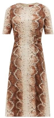 Altuzarra Silvia Snake-print Silk-crepe Midi Dress - Womens - Ivory