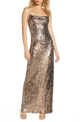 WAYF Amy Sequin Cowl Neck Gown