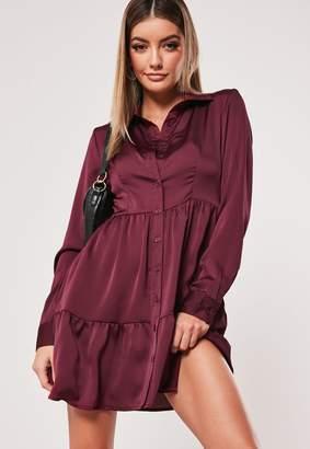 Missguided Burgundy Satin Button Front Smock Shirt Dress