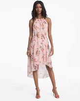 White House Black Market Sleeveless Soft Floral Printed Fit-and-Flare Dress