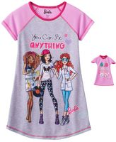 """Girls 4-10 & Doll Barbie """"You Can Be Anything"""" Nightgown"""